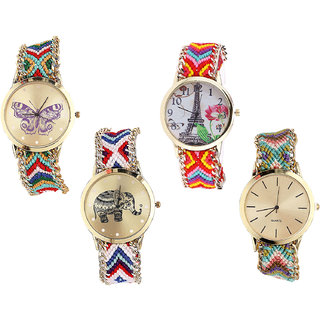 Neutron Latest Stylish Butterfly, Paris Eiffel Tower And Elephant Analogue Multi Color Color Girls And Women Watch - G132-G144-G159-G167 (Combo Of  4 )