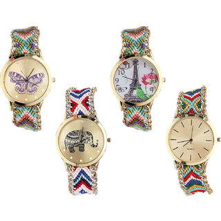 Neutron Latest Unique Butterfly, Paris Eiffel Tower And Elephant Analogue Multi Color Color Girls And Women Watch - G133-G146-G159-G166 (Combo Of  4 )