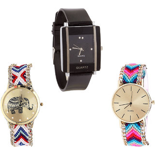 Neutron Treading Branded Elephant Analogue Black And Multi Color Color Girls And Women Watch - G12-G159-G164 (Combo Of  3 )