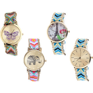 Neutron Modern Formal Butterfly, Paris Eiffel Tower And Elephant Analogue Multi Color Color Girls And Women Watch - G133-G149-G312-G314 (Combo Of  4 )