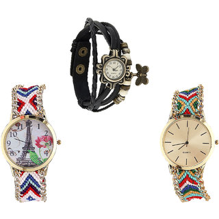 Neutron Best Love Butterfly And Paris Eiffel Tower Analogue Black And Multi Color Color Girls And Women Watch - G58-G148-G166 (Combo Of  3 )