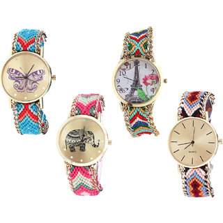 Neutron Modern Exclusive Butterfly, Paris Eiffel Tower And Elephant Analogue Multi Color Color Girls And Women Watch - G137-G145-G163-G316 (Combo Of  4 )