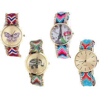 Neutron New Analogue Butterfly, Paris Eiffel Tower And Elephant Analogue Multi Color Color Girls And Women Watch - G134-G143-G157-G315 (Combo Of  4 )