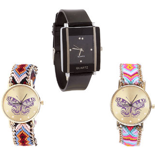 Neutron Modern Valentine Butterfly Analogue Black And Multi Color Color Girls And Women Watch - G12-G138-G142 (Combo Of  3 )