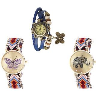 Neutron Brand New Royal Butterfly And Elephant Analogue Blue And Multi Color Color Girls And Women Watch - G59-G138-G162 (Combo Of  3 )