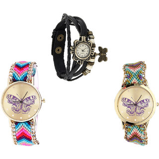 Neutron Classical Traditional Butterfly Analogue Black And Multi Color Color Girls And Women Watch - G58-G130-G133 (Combo Of  3 )
