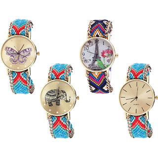 Neutron Contemporary Diwali Butterfly, Paris Eiffel Tower And Elephant Analogue Multi Color Color Girls And Women Watch - G137-G153-G161-G315 (Combo Of  4 )
