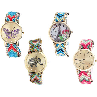 Neutron Brand New Analogue Butterfly, Paris Eiffel Tower And Elephant Analogue Multi Color Color Girls And Women Watch - G137-G149-G157-G317 (Combo Of  4 )