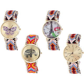 Neutron Latest Luxury Butterfly, Paris Eiffel Tower And Elephant Analogue Multi Color Color Girls And Women Watch - G138-G151-G155-G316 (Combo Of  4 )