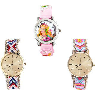 Neutron Classical Love Barbie Doll Analogue Pink And Multi Color Color Girls And Women Watch - G7-G313-G319 (Combo Of  3 )