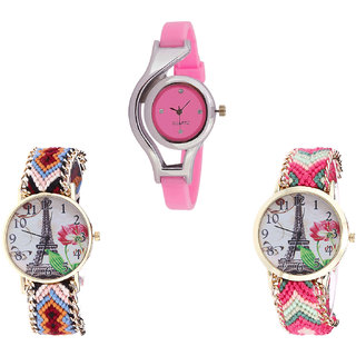 Neutron Treading Casual World Cup And Paris Eiffel Tower Analogue Pink And Multi Color Color Girls And Women Watch - G3-G151-G152 (Combo Of  3 )