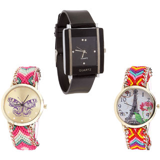 Neutron Contemporary Casual Butterfly And Paris Eiffel Tower Analogue Black And Multi Color Color Girls And Women Watch - G12-G139-G144 (Combo Of  3 )