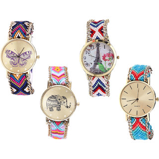 Neutron Contemporary Fashion Butterfly, Paris Eiffel Tower And Elephant Analogue Multi Color Color Girls And Women Watch - G140-G148-G312-G315 (Combo Of  4 )