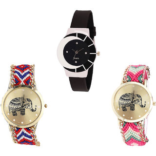 Neutron Latest 3D Design Elephant Analogue Black And Multi Color Color Girls And Women Watch - G8-G158-G163 (Combo Of  3 )