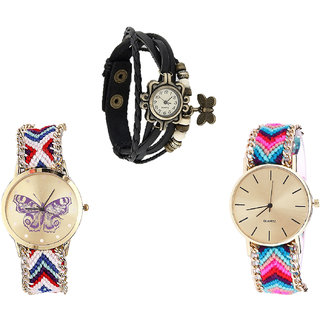 Neutron Contemporary Fashionable Butterfly Analogue Black And Multi Color Color Girls And Women Watch - G58-G135-G164 (Combo Of  3 )
