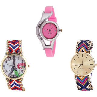 Neutron Best Unique World Cup And Paris Eiffel Tower Analogue Pink And Multi Color Color Girls And Women Watch - G3-G147-G318 (Combo Of  3 )