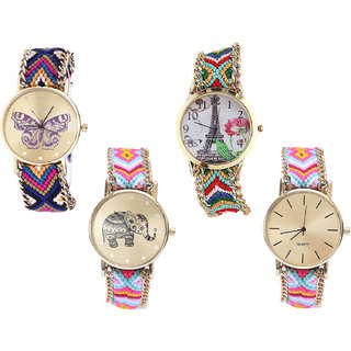 Neutron Contemporary Fashion Butterfly, Paris Eiffel Tower And Elephant Analogue Multi Color Color Girls And Women Watch - G140-G145-G312-G319 (Combo Of  4 )