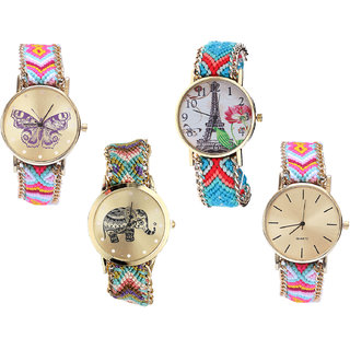 Neutron Classical Rich Butterfly, Paris Eiffel Tower And Elephant Analogue Multi Color Color Girls And Women Watch - G142-G150-G157-G319 (Combo Of  4 )