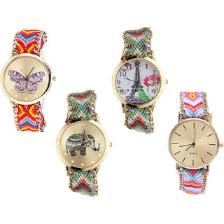 Neutron Contemporary Analogue Butterfly, Paris Eiffel Tower And Elephant Analogue Multi Color Color Girls And Women Watch - G131-G146-G157-G319 (Combo Of  4 )