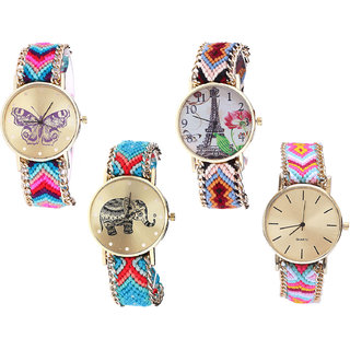 Neutron Classical Quartz Butterfly, Paris Eiffel Tower And Elephant Analogue Multi Color Color Girls And Women Watch - G130-G151-G161-G319 (Combo Of  4 )