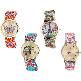 Neutron Contemporary Diwali Butterfly, Paris Eiffel Tower And Elephant Analogue Multi Color Color Girls And Women Watch - G131-G146-G161-G319 (Combo Of  4 )