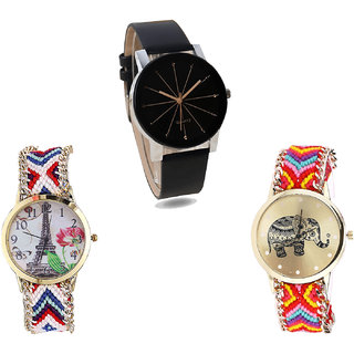Neutron New Luxury Paris Eiffel Tower And Elephant Analogue Black And Multi Color Color Girls And Women Watch - G174-G148-G155 (Combo Of  3 )