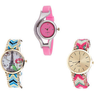 Neutron Latest Rich World Cup And Paris Eiffel Tower Analogue Pink And Multi Color Color Girls And Women Watch - G3-G149-G317 (Combo Of  3 )