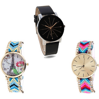 Neutron Latest Rich Paris Eiffel Tower Analogue Black And Multi Color Color Girls And Women Watch - G174-G149-G164 (Combo Of  3 )