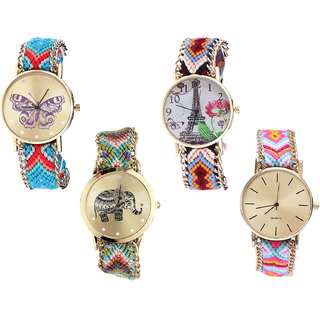 Neutron New Analogue Butterfly, Paris Eiffel Tower And Elephant Analogue Multi Color Color Girls And Women Watch - G137-G151-G157-G319 (Combo Of  4 )