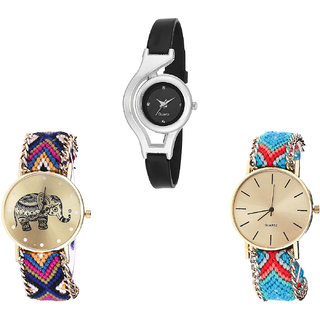 Neutron Classical Collegian World Cup And Elephant Analogue Black And Multi Color Color Girls And Women Watch - G1-G311-G315 (Combo Of  3 )