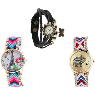 Neutron Modern Quartz Butterfly, Paris Eiffel Tower And Elephant Analogue Black And Multi Color Color Girls And Women Watch - G58-G143-G159 (Combo Of  3 )