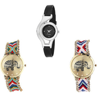 Neutron Latest Stylish World Cup And Elephant Analogue Black And Multi Color Color Girls And Women Watch - G1-G156-G159 (Combo Of  3 )