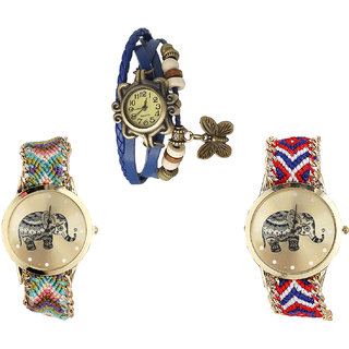 Neutron New Quartz Butterfly And Elephant Analogue Blue And Multi Color Color Girls And Women Watch - G59-G157-G158 (Combo Of  3 )