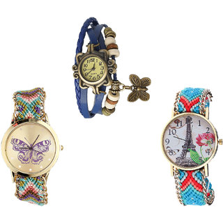 Neutron Classical Luxury Butterfly And Paris Eiffel Tower Analogue Blue And Multi Color Color Girls And Women Watch - G59-G133-G150 (Combo Of  3 )