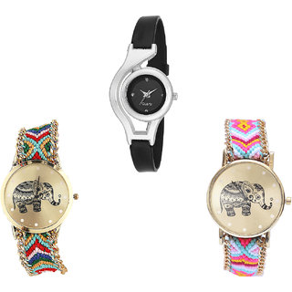 Neutron Latest Unique World Cup And Elephant Analogue Black And Multi Color Color Girls And Women Watch - G1-G156-G312 (Combo Of  3 )