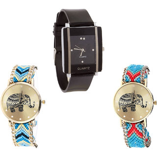 Neutron Treading Quartz Elephant Analogue Black And Multi Color Color Girls And Women Watch - G12-G160-G161 (Combo Of  3 )
