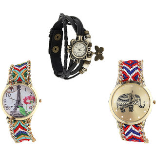 Neutron Contemporary Quartz Butterfly, Paris Eiffel Tower And Elephant Analogue Black And Multi Color Color Girls And Women Watch - G58-G145-G158 (Combo Of  3 )