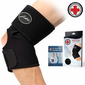 Dr. Arthritis Elbow Brace  Support + Doctor Written Handbook (Single, Black)