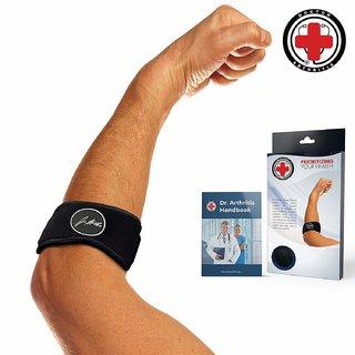 Dr. Arthritis Tennis Golfers Elbow Solution/ Support Strap/ Brace + Doctor Written Handbook (Single Black)