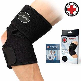 Dr. Arthritis Elbow Brace Support + Doctor Written Handbook (Single Black)