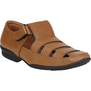 Koxko 1741 7 Days Tan Men's Faux Leather Formal Sandal 6 UK