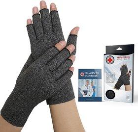 Dr. Arthritis Arthritis Compression Gloves + Doctor Written Handbook (Pair)(Grey)
