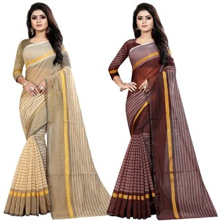Meia Women's Cotton Silk Striped Saree Combo Pack of 2 (Rustam 2 Cream-Coffee)