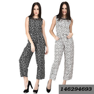 Women Black Floral And White Tiger Printed Jumpsuits Combo
