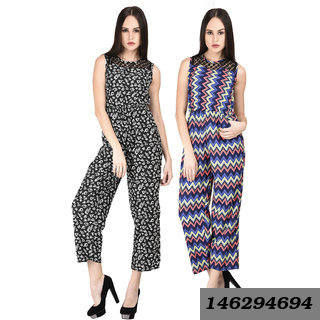 Women's Black Floral and Zig Zag Printed Jumpsuit Combo