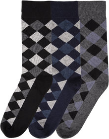 N2S NEXT2SKIN Men's Seamless Regular Length Cotton Socks-Pack of 3 Pairs (BlackNavyCharcoal Grey)