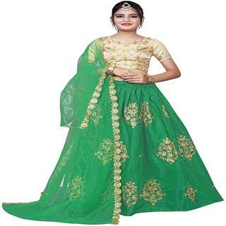 F Plus Fashion Green Embroidered Kids Wedding Wear Semi Stitched Lehenga CholiComfortable To 8-13 Year Girls (Free Size