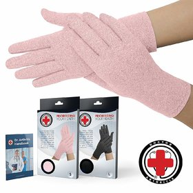 Doctor Developed Full Fingered Arthritis Compression Gloves (Pink)  Doctor Written Handbook- Soft with Mild Compression