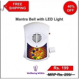 35 Mantra Bell with Led Light/Continuous Chanting Bell/Mantra Chanting - Effective for Meditation, Relaxation, Stress
