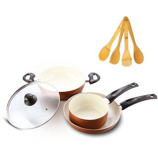 Impex PEARL KSF 484 Aluminum Ceramic Coated Combo of 3 Pcs - (Kadai Pan Sauce Pan Fry Pan)